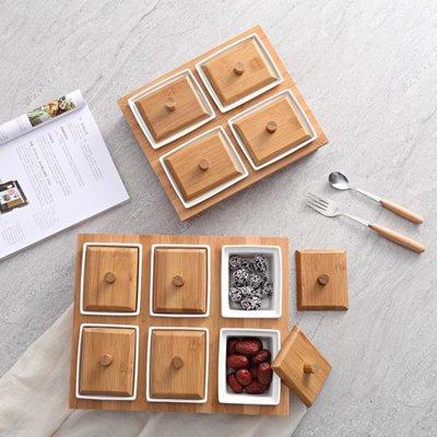 干果盤分格帶蓋創意果盤現代客廳日式陶瓷零食小食瓜子盤堅果盒