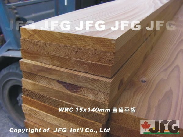 JFG 木材批發 *【WRC美西側柏板材】15x140mm 木板 檜木 傢俱 踢腳板 木棧道 抽屜板 香杉 紅檜