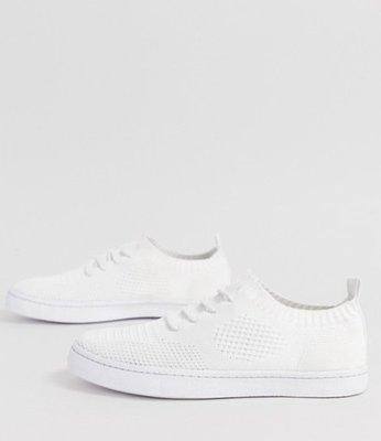 ◎美國代買◎ASOS像襪子設計搭配鞋帶復古英倫時尚街風針織材質白色休閒鞋~歐美街風~大尺碼