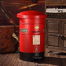 歐式複古工業風郵筒擺件鐵藝垃圾桶腳踏式郵筒垃圾筒裝飾品