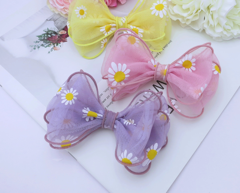 檸檬手作髮飾  韓國印花網紗蝴蝶結髮夾/髮束/髮箍    (三色)
