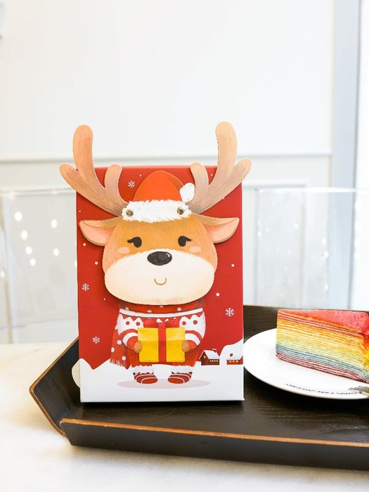 【berry_lin107營業中】5只紅色圣誕麋鹿盒蛋黃酥盒常溫禮盒牛軋糖盒雪花酥牛軋餅餅干盒