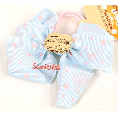 《東京家族》現貨日本三麗鷗 雙星仙子 小雙子星 粉嫩緞帶蝴蝶結彈力髮束(星) 髮圈髮飾