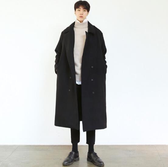 羊毛呢大衣 寬松雙排扣雙面羊絨大衣 長款風衣呢子外套—莎芭