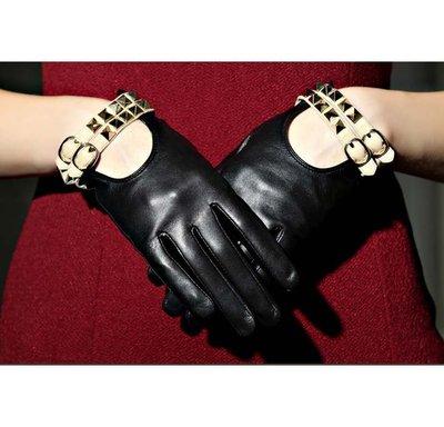 秋冬季真皮手套 進口山羊皮歐美時尚柳釘薄款短款手套