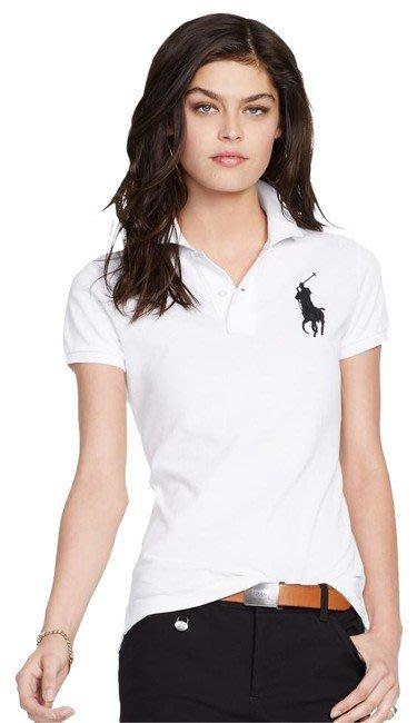 【Polo Ralph Lauren】RL 女生 女裝大人 基本款 刺繡大馬 短袖 POLO衫 網眼 白色