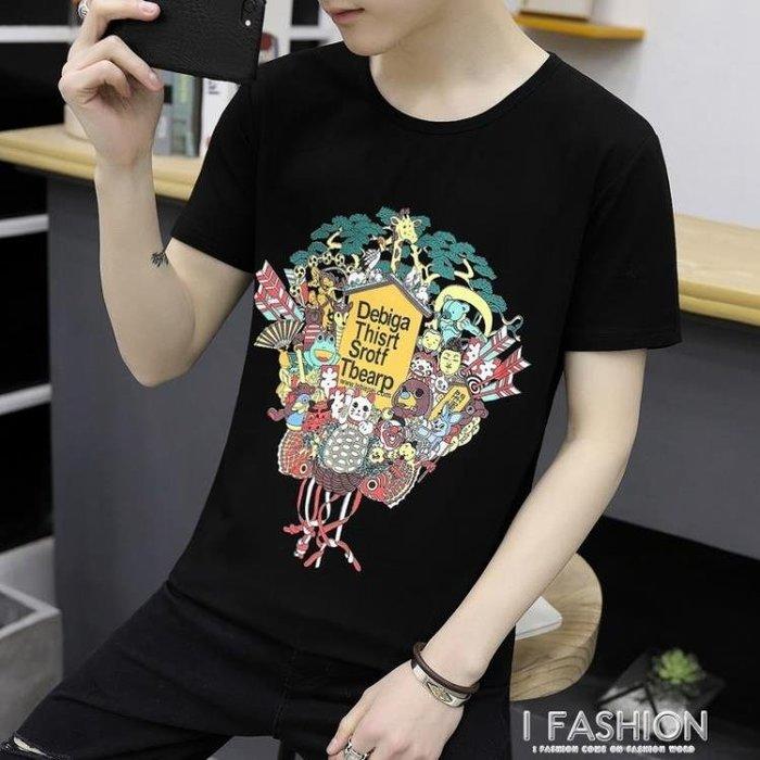 夏季新款男士短袖T恤潮流韓版圓領帥氣青少年學生修身體恤潮流