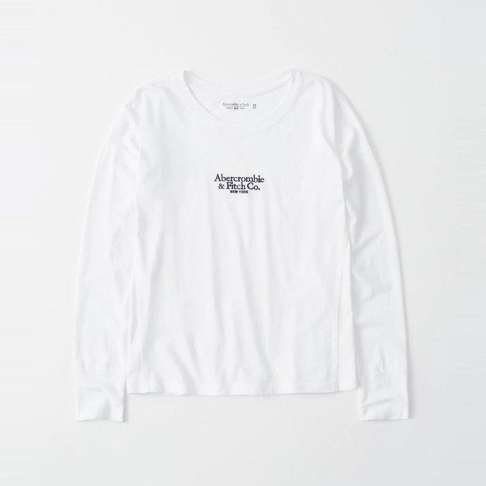 【Abercrombie&Fitch】【A&F】AF女款長袖T恤三排黑小字白 F07191118-62