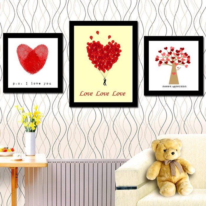 印花 十字繡 愛的印記三聯畫臥室溫馨卡通可愛小幅簡單新手款 鑽石畫