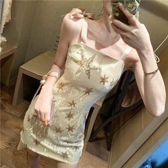 Qmi 2019夏季新款修身性感包臀星星亮片蝴蝶結吊帶連衣裙