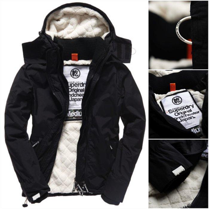 跩狗嚴選 極度乾燥 Superdry Sherpa 經典款 三排拉鍊 風衣 外套 防風 加厚保暖 低調黑 黑白S~XL
