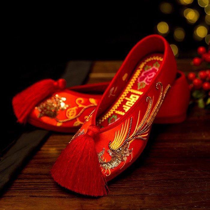 創意夏季女鞋老北京亮片繡花鞋中式婚鞋紅色平底女鞋新娘秀禾鞋千層底流蘇布鞋