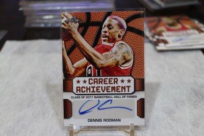 公牛隊~Dennis Rodman 籃球名人堂/Career Achievement 2016 Leaf 簽名 DR1