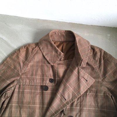 日本製造 Journal Standard trench coat 純棉經典格紋 雙排扣 長版風衣 VINTAGE 古著