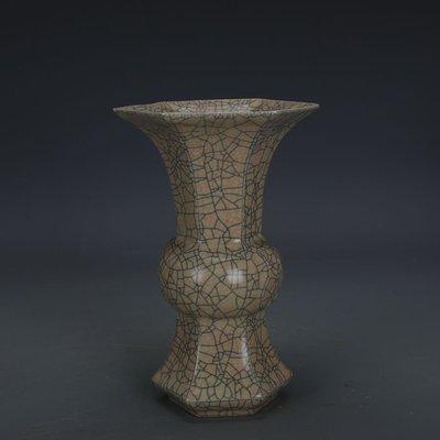 ㊣姥姥的寶藏㊣ 宋代哥窯金絲鐵線支釘六棱花觚瓶  出土奉華款古瓷器古玩古董收藏