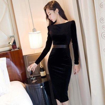 絲絨連衣裙名媛氣質打底裙女秋冬新款中長款顯瘦包臀修身禮服洋裝   全館免運
