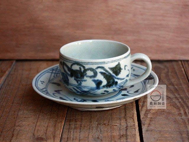 +佐和陶瓷餐具批發+【XL070914-8 藍繪紋咖啡杯組-日本製】日本製 咖啡杯 食器 茶杯組 單品咖啡杯