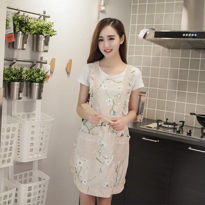 5Cgo【鴿樓】含稅會員有優惠 567545614988 韓式可愛雙層時尚圍裙廚房防油加厚清潔大掃除女罩衣奶茶店餐廳背帶