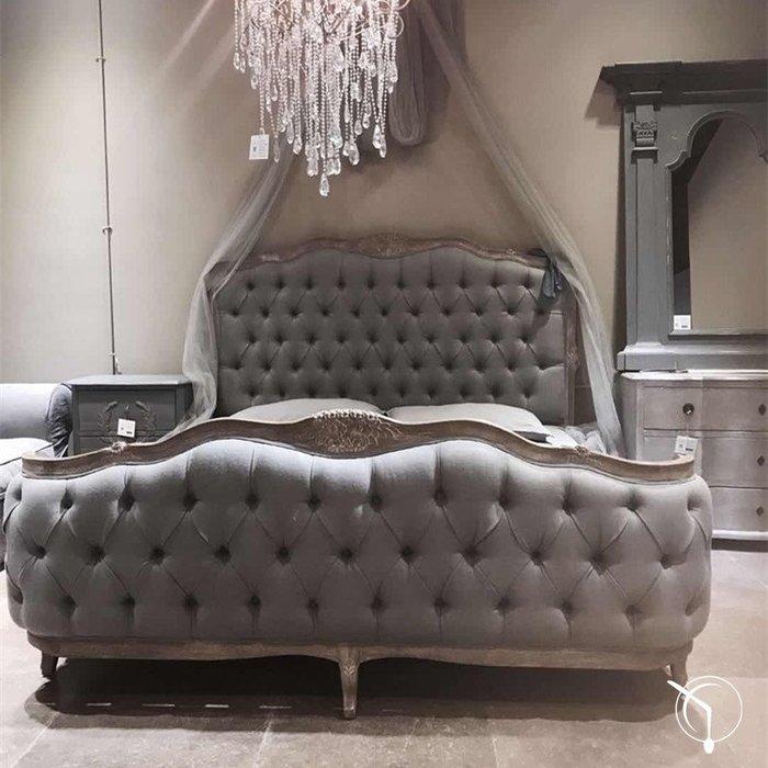 法國復古世界 仿舊拉扣雕花床 180x200cm 床墊適用