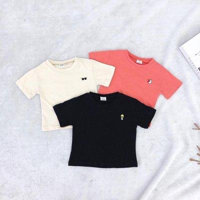 1630 童裝2019夏季新品中小童短袖T恤韓版純棉純色刺繡T恤