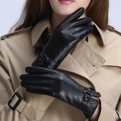 ZIHOPE 皮手套女秋冬保暖可愛觸屏棉韓版防寒薄款男開車騎車學生加絨加厚ZI812