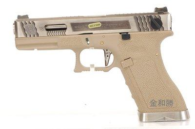 JHS((金和勝 生存遊戲專賣))烙印戰鬥版 沙色握把 WET 銀滑套銀槍管 G18 瓦斯手槍 4702