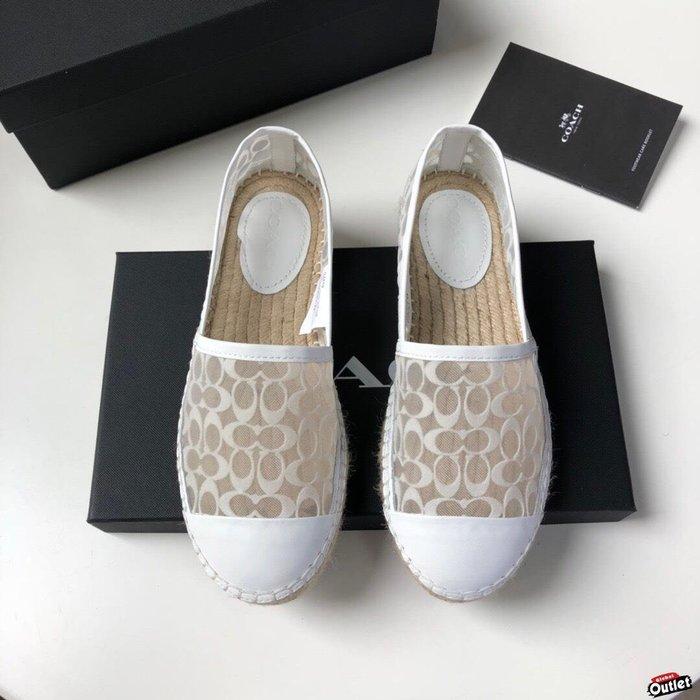 【全球購.COM】COACH 寇馳 2020新款 白色漁夫鞋 滿版LOGO 休閒鞋 時尚精品 美國連線代購