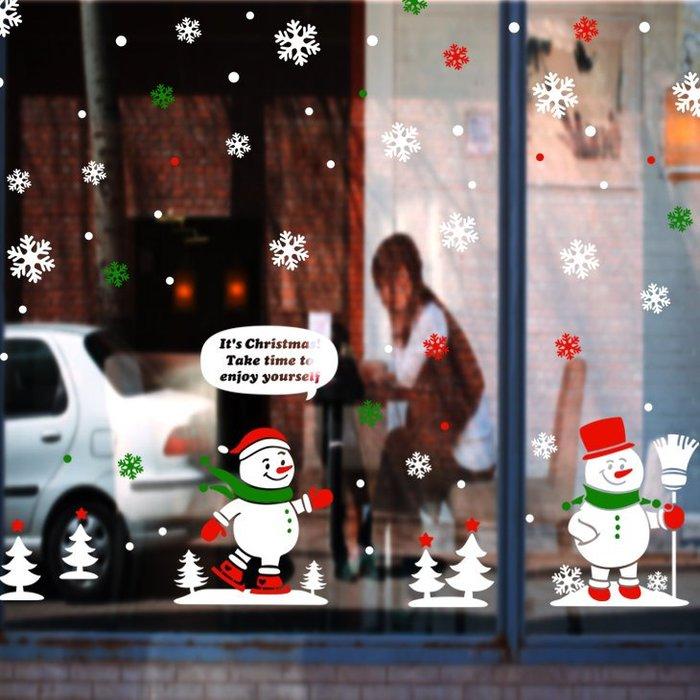 小妮子的家@聖誕小雪人壁貼/牆貼/玻璃貼/磁磚貼/汽車貼/家具貼
