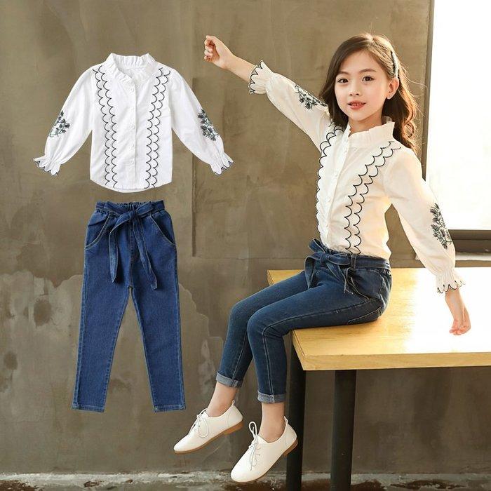 『媽咪貝貝』女大童春裝套裝兩件2019兒童牛仔繡花襯衫小學生女孩