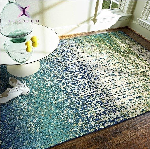 【夏法羅 傢飾】埃及進口 北歐時尚 抽象漸層 湛藍 計師款 臥室 餐廳 地毯 床邊毯 INF-111