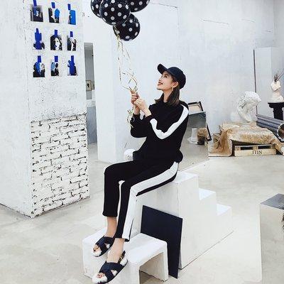夏天家2018新款女裝春秋裝韓版休閑運動服時尚套裝衛衣兩件套潮