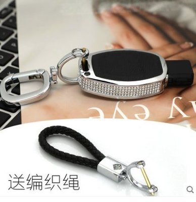 有車以後汽配~適用BENZ賓士GLA200E級C級鑰匙扣GLC260C200L鑲鑽汽車真皮鑰匙包殼套