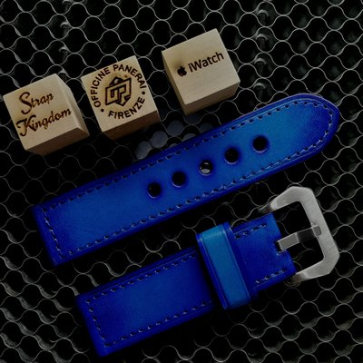 Vintage Blue Hand-dyed Cowhide Strap