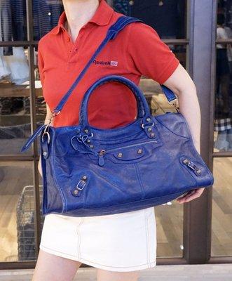 巴黎世家 Balenciaga 282009 Giant Part Time 玫瑰金扣 機車包 深藍