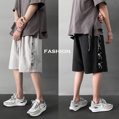 EXIT ONLINE男裝夏季男士加大碼短褲嘻哈ins潮牌寬松休閒運動情侶五分褲