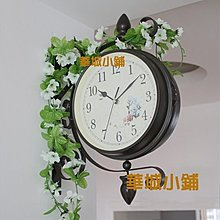 170華城小鋪**仿古掛鐘/時鐘/靜音/雙面鐘/實木掛鐘/歐式/掛鐘/ 居家風b款 小花鐘面