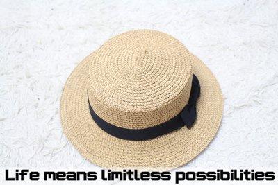 中性坪頂短沿草帽 Wide brim hat 歐美 百搭 古著 復古  寬沿 大帽簷 【LtLf】
