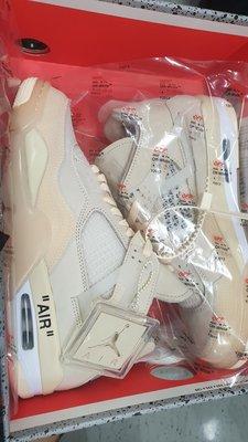 台灣公司貨 Off-White™ x Air Jordan 4 聯名 全新 白色 aj4 奶茶 色 us10 27cm cv9388-100