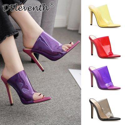 biNs正韓·Glass Clear slipper heel shoes歐美外貿透明尖頭高跟涼拖鞋女鞋
