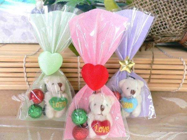 迷你抱心熊手機吊飾+巧克力+包裝袋.結婚禮小物二次進場送客禮七夕情人節禮品分享禮