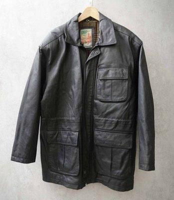 古著 OVERPASS 黑色 皮革 真皮短大衣 M號