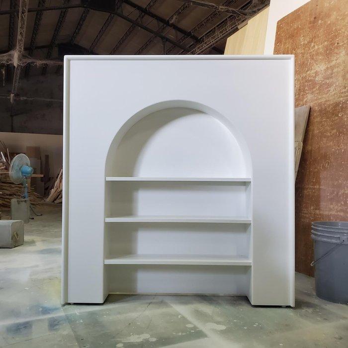 美生活館 家具訂製 客製化 鄉村風格 純白色 壁爐造型 開放展示櫃 收納櫃 書櫃 半圓開放櫃 玄關櫃 也可修改尺寸顏色