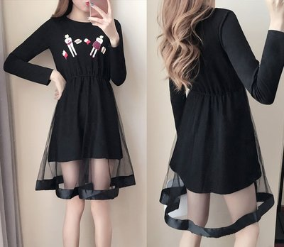 GOGO SHOP☆╭韓國 新品發佈 時尚印花收腰長袖網紗連身裙【Y1527】S~XL假兩件洋裝 修身顯瘦洋裝