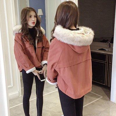 韓版女款加絨加厚連帽外套夾克大衣...