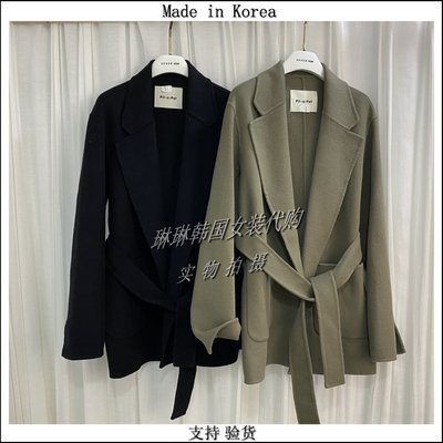 琳琳韓國女裝PIT-A-PAT-I代新購進口2020冬季新雙面羊絨大衣腰帶外套bn