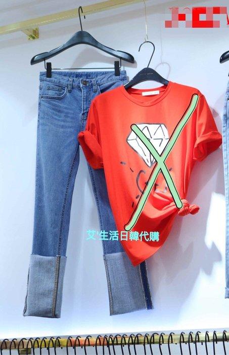 現貨 韓國製反摺修身牛仔褲