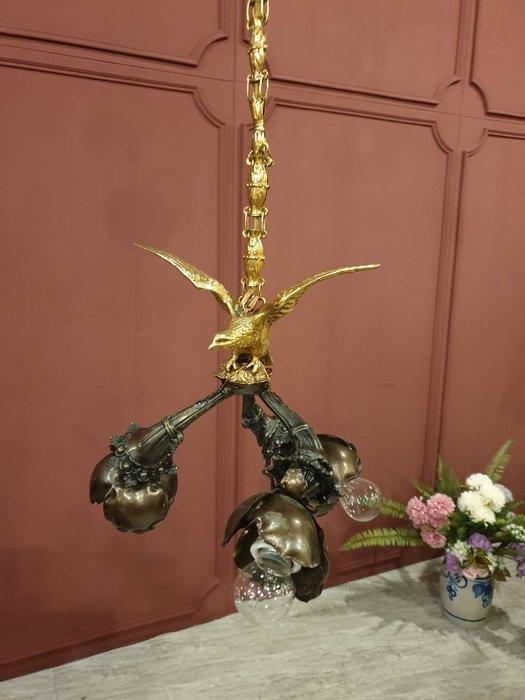 【卡卡頌   歐洲古董】1900s 法國老件  超俊美老鷹  藝術品等級  古董燈   特殊造型吊燈  l0296✬