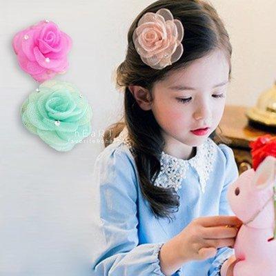【可愛村】網紗玫瑰點鑽髮夾 兒童髮飾 髮夾