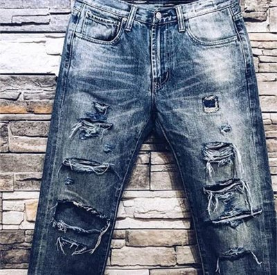 R.P.T.N Handwork Destroy Retro Washed Denim-手工破壞復古水洗牛王 M號