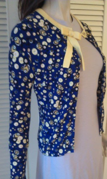 全新吊牌完整專櫃真品《Blumarine》紫藍色施華洛世奇水鑽黃點點長袖針織外套原價$42800